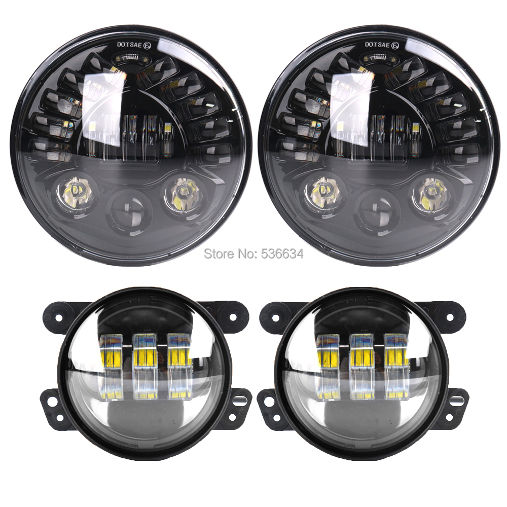 7inch LED Round Projector Daymaker Headlights DRL Hi/Low Turn Light H4 Auto+4inch led fog lights for Jeep Wrangler LJ Unlimited