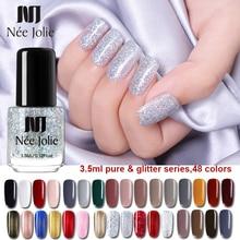 NEE JOLIE Silver Glitter Nail Polish Fast Dry Black Purple Matte Lacquer Varnish Manicure for Art Design