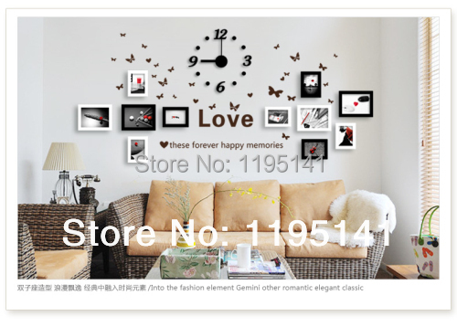 11 PCs Wooden Photo Frames Set With Butterfly Wall Sticker And Wall Clock  Free Shipping Wall