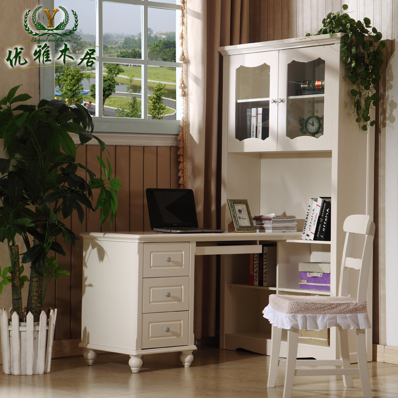 Korean bookcase desk corner computer bedroom study table teen-in ...