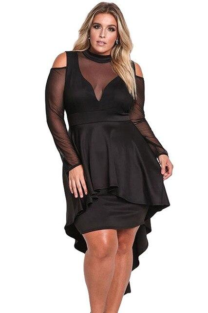 NEW Plus Size Mesh Trim High Low Peplum Bodycon Dress Big Ladies ...