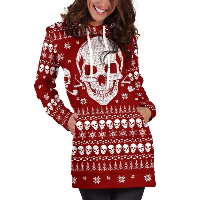 b9cd608810b9 Aliexpress.com : Buy Skulls Ugly Christmas Hoodie Dress 2019 Autumn Long  Sleeve Tracksuit Women Plus Size Sweatshirt Dress Hoodies Dress from  Reliable ...