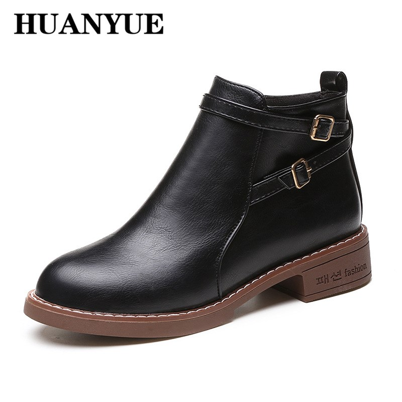 New Hot Style Fashion Women Ankle Boots Round Toe Thick Bottom Pu Leather Shoes Waterproof Woman Martin Boots Autumn Flat Shoes 12 6v 2a lithium battery charger eu us plug 12 6 v charger 3 series li ion battery polymer smart charger 18650 battery pack
