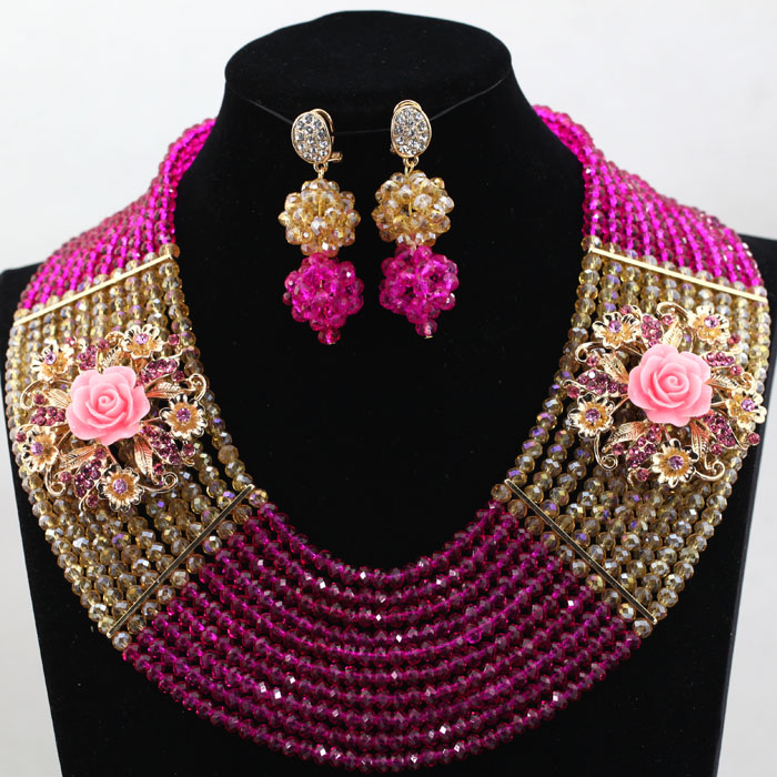 Rose and Yellow African Beads Jewelry Sets beaded Bridal Handmake Wedding Party Costume Jewelry Set Layered Weaving hx336 color block layered beaded bracelet