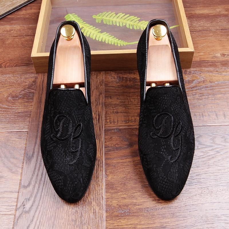Sur Chaude Loisirs Mans Or gold red Conduite Slip Black Mocassins Robe Chaussures Unique Dentelle HnIw44qW8g