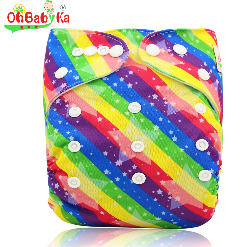 Ohbabyka Baby Cloth Diapers Soft Infant Nappy Changing Reusable Newborn Baby Nappies Cover Adjustable Toddler Diaper Fit 0-3year