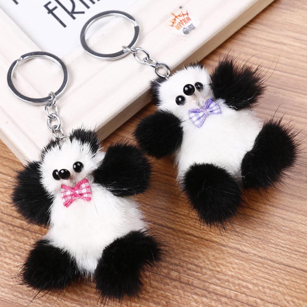 Real Mink Fur Keychains Pom Pom Car Keychian Plush Fluffy Animal Panda Key Chain Rings For Phone Bag Charms Pendant Toys