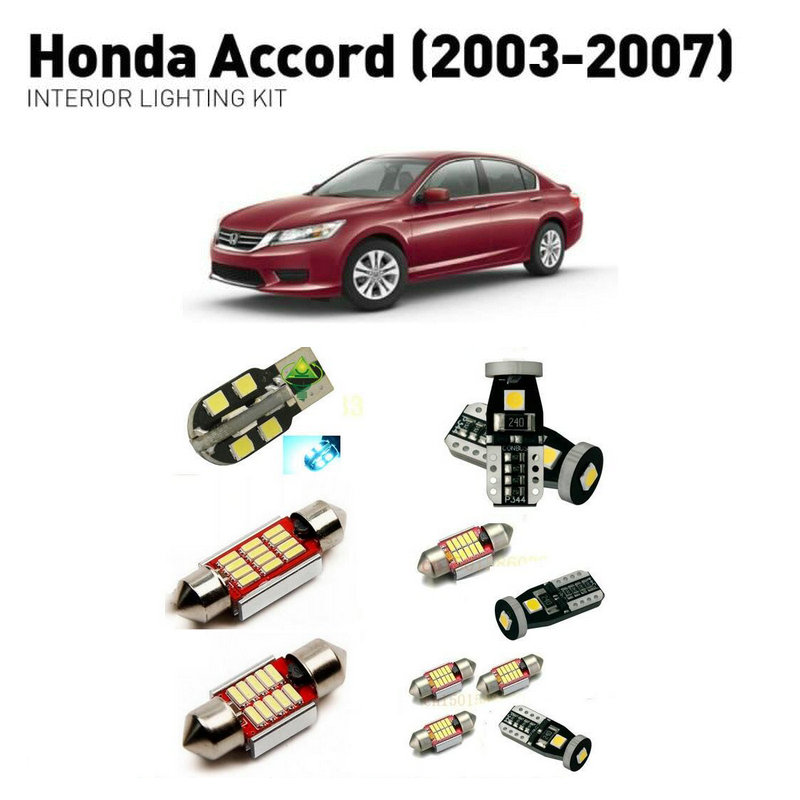 Led interior lights For Honda accord 2003 2007 13pc Led Lights For Cars lighting kit automotive bulbs Canbus in Car Light Assembly from Automobiles Motorcycles