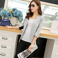 2015 Spring OL Ladies Blazer Feminino Three Quarter Sleeve Grey Female Jacket  Short Chaqueta Corta Mujer Outwear OW0047