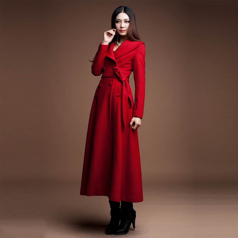 e75dca5c07df0 2018 Fashion Winter Long Coat Women Large Lapel Cashmere Coat Slim Thick  Wool Tweed Trench Plus Size Double Breasted Overcoats
