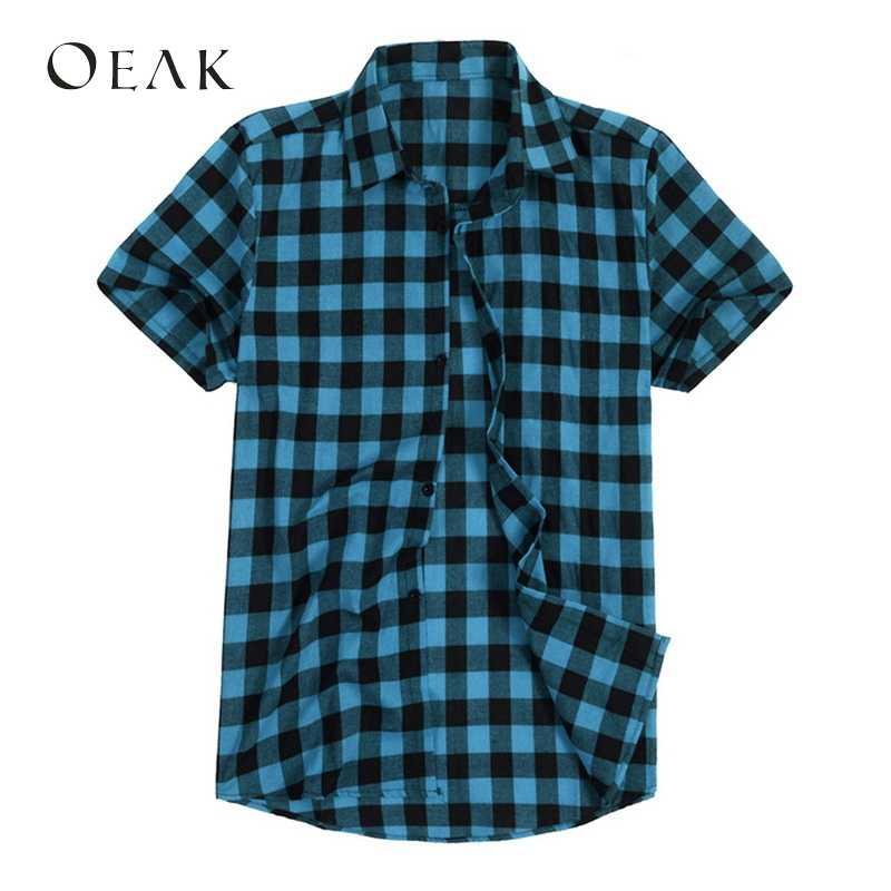 Oeak Летняя мужская рубашка с отложным воротником и коротким рукавом, Повседневная рубашка в клетку с принтом, мужская хлопковая Базовая рубашка, рубашка Camisa Hombre