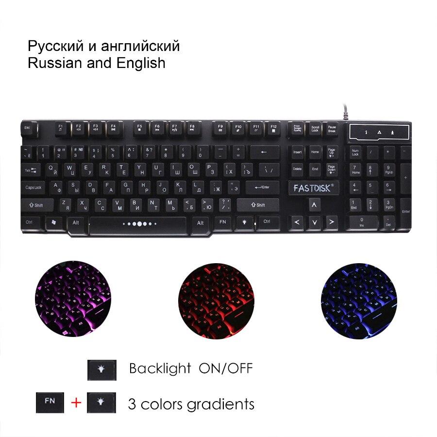 FASTDISK Ruso / Inglés Teclado de juego con retroiluminación de 3 - Periféricos de la computadora - foto 2