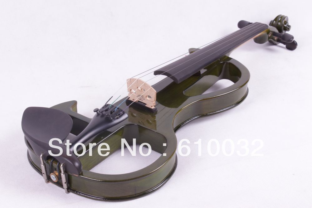 dark green  color  4/4 4 String Electric Violin Solid wood hand style 2-6 # one 4 string 4 4 violin electric violin acoustic violin maple wood spruce wood big jack green color