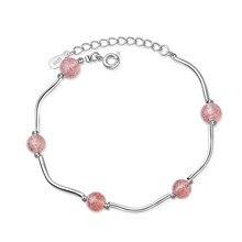 TJP Luxury 925 Sterling Silver Bracelets For Women Wedding Accessories Girl Fashion Crystal Pink Lady Christmas Bijou