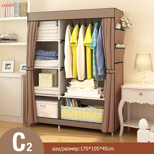 Многоцелевой нетканый Тканевый шкаф для спальни, складной портативный шкаф для хранения одежды, пылезащитный Тканевый шкаф, домашняя мебель - Цвет: HH340600CS7
