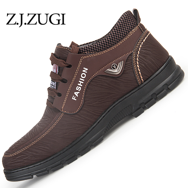 Z.J.ZUGI Men shoes Keep Warm Men shoes Winter boots high quality size 39-44 With fur Casual Shoes Work winter boots hot sale 2017 new lightweight breathable suede mens casual shoes adult keep warm with fur