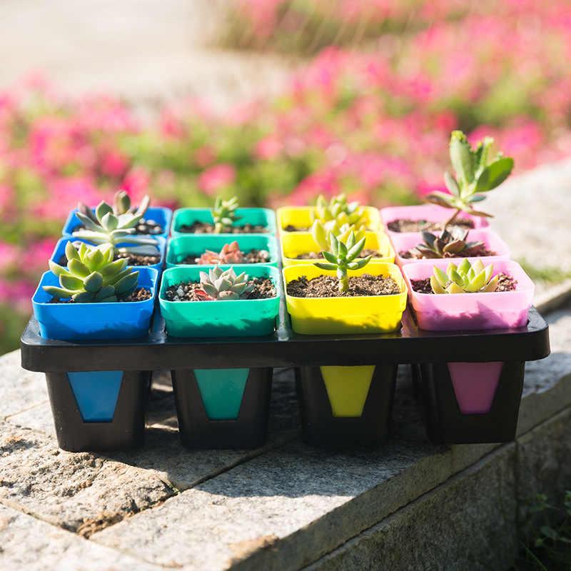 10 cores Mini Planta De Plástico Quadrado Vaso de Flores para a Mesa de Escritório Em Casa Decoração Do Jardim