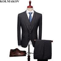 (Jacket+Vest+Pants) 2019 New Spring Classic Men's Classic Suits 3 Pieces Slim Fit Mens Black Striped Business Suits S 3XL