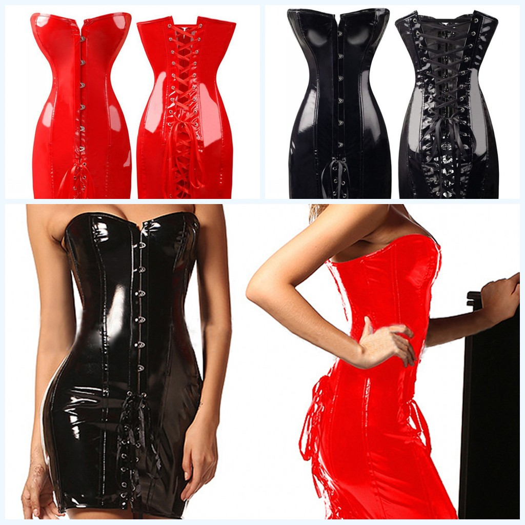 1PC Black Red Female <font><b>Sexy</b></font> PU Leather <font><b>Corset</b></font> Gothic Dress Shiny Boned Bustier Top Clubwear Dress For Women S-<font><b>XXXL</b></font> image