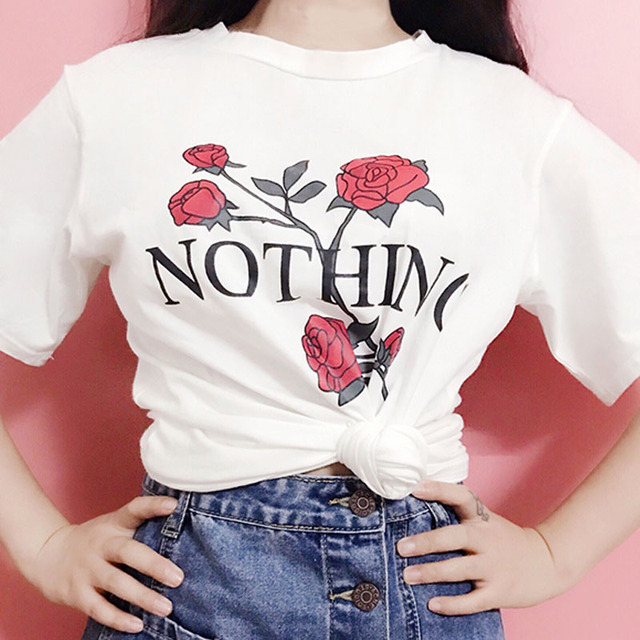 e6bc49fa7d85 New Arrival Casual Fashion Women T-shirt Funny Letter Shirts Rose Flower Print  Women Casual