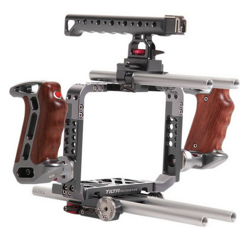 Tilta ES-T07 BMCC rig DSLR rig cage for BlackMagic Cinema Camera Cage Baseplate Wooden Handgrip for BMCC camera cage rig heavy duty aluminum alloy lightweight dslr camera cage rig for bmcc blackmagic cinema camera