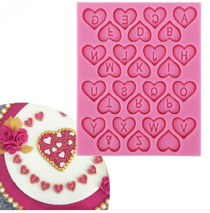 Fondant Silicone Cake Mold Decorating Tools Sweet Heart English Letter Alphabet Chocolate Cupcake Cooking Tools Soap Candy A483