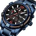 2019 mode Für Männer Militär Uhr Wasserdichte Edelstahl Armband Chronograph Sport Uhr Casual Stoppuhr Quarz Armbanduhr-in Quarz-Uhren aus Uhren bei