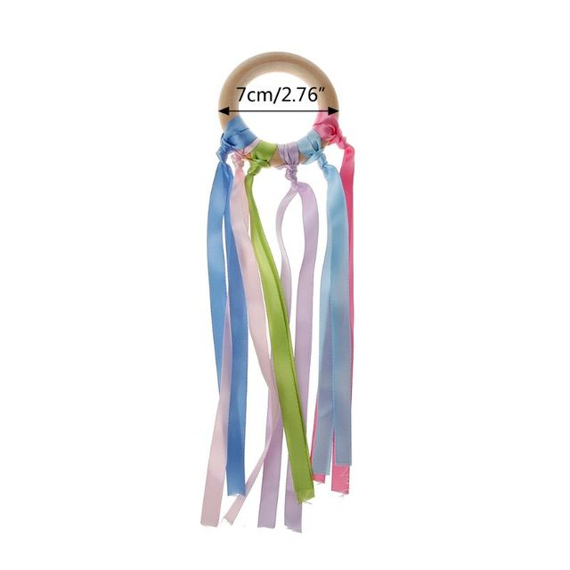 Baby Teether Rainbow Natural Wooden Ribbon Ring Chew Toys Baby Teether Newborn Sensory Toy Baby Shower Gift-S006