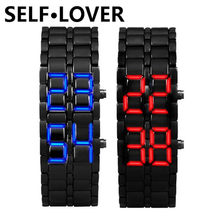 Excellent Quality 2x Lava Style Iron Samurai Black Bracelet LED Japanese Inspired Watch SELFLOVER Wristwatch Relogio Masculino(China)