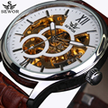 Luxury Brand Fashion Casual Sport Men Skeleton Automatic Mechanical Military Watch Men's leather Band reloj erkek kol saatleri