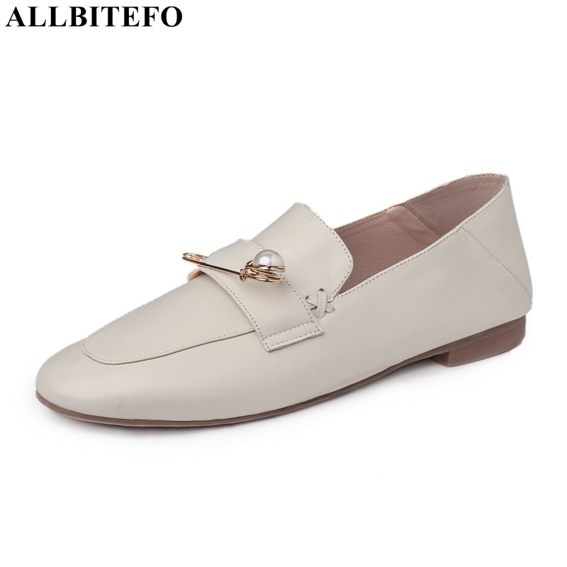 ALLBITEFO genuine leather women heels shoes thick heel fashion brand women high heel shoes office ladies