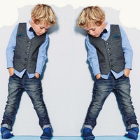 New Boys Gentleman Set Formal Vest + Blouse + Jeans 3pcs Clothing Sets For Boys Denim Pants Spring Costume Crianca Roupas