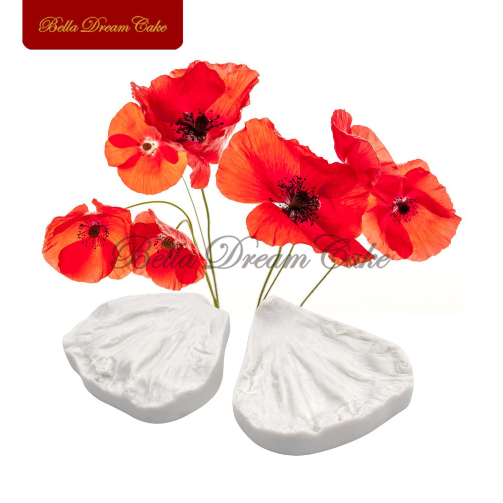 Poppy flower petal veiner silicone mold fondant sugarcraft mould set poppy flower petal veiner silicone mold fondant sugarcraft mould set cake decorating tool diy soap gumpaste mold bakeware in cake molds from home garden mightylinksfo