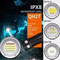 Tinhofire Underwater IPX8 80M 9090 White Light XML2+XPE Red/Blue R5 Photography Video LED Diving Flashlight Photo Fill Light