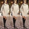 New Year Fashion Trendy Women Pullover Turtleneck Knitwear Knitted Long Sleeves Sweater Dress Autumn Fall Winter