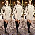 Ano novo moda moda mulheres pulôver gola malhas mangas compridas de malha camisola vestido de outono queda roupa de inverno Outwear