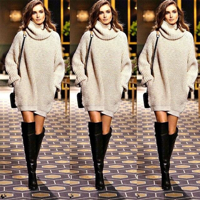 New Year Fashion Trendy Women Pullover Turtleneck Knitwear Knitted Long  Sleeves Sweater Dress Autumn Fall Winter 5d11d43ee