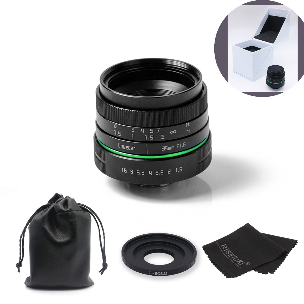 New green circle 35mm CCTV camera lens for Canon EOS M / M2 / M3 with c-eosm adapter ring  + bag + big box + Gift+Free Shipping fuselage cover lens cap set for canon eos m