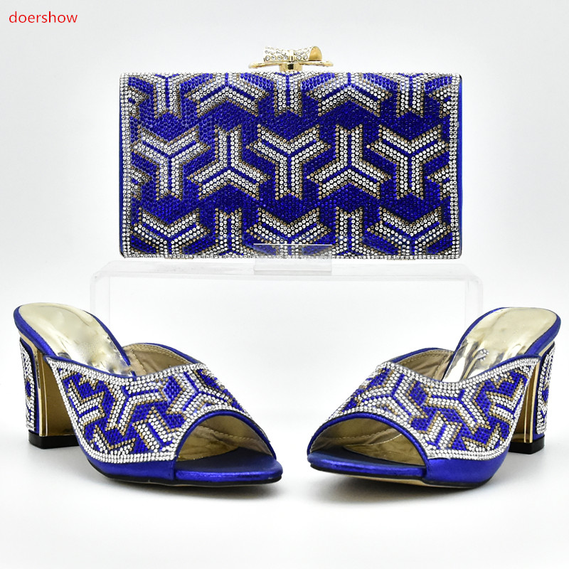 doershow Shoe and Bag Set New 2018 Women Shoes and Bag Set In Italy blue Color Italian Shoes with Matching Bags Set!XI1-7 new arrival italian shoes with matching bag high quality italy shoe and bag set for wedding and party g11 black color size 38 42