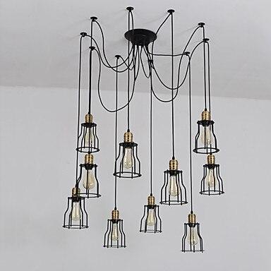 цена на 10 heads LED Edison Loft Industrial Pendant Lighting Fixtures Dinning Room Rustic Lamp Vintage Light Luminaire Lampara