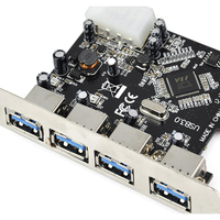 YOC 5psc FAST USB 3.0 PCI E PCIE 4 PORTS Express Expansion Card Adapter