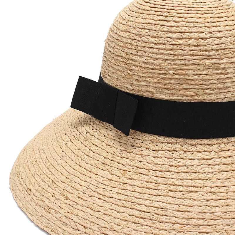 2018 جديد الرافية النساء القش الصيف قبعات للحماية من الشمس للسيدات قبعة للشاطئ الموضة اليدوية كبيرة واسعة حافة دلو قبعات لا تغطي الرأس بالكامل هدية