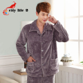 Home Suits Coral Fleece Sleepwear 2015 Winter Men Flannel Pajamas Thick Pijama Masculino