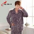 Ternos casa Coral Fleece Sleepwear 2015 Inverno Homens Pijama De Flanela Grossa Pijama Masculino