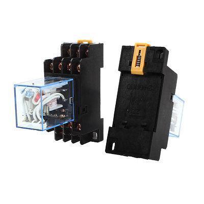 Подробнее о 2 Pcs AC 110V-120V Coil 4PDT 35mm DIN Rail Electromagnetic Power Relay + Socket free shipping hh54pl ac 380v coil 4pdt 35mm din rail electromagnetic power relay w socket base