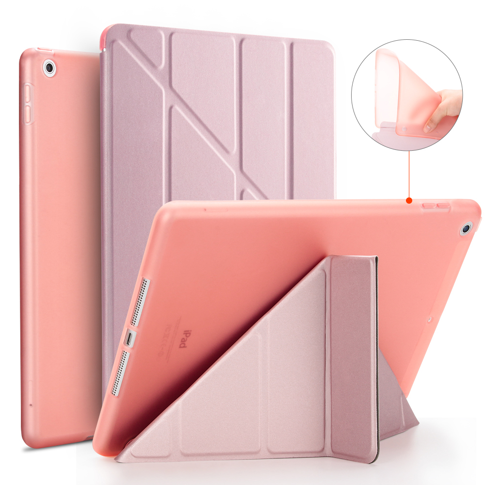 For iPad 9.7 2017 2018 Case A1822 A1893 Y Style Silicone Soft Back PU Leather Smart Cover for iPad 2018 Case 9.7 inch 2017 Case