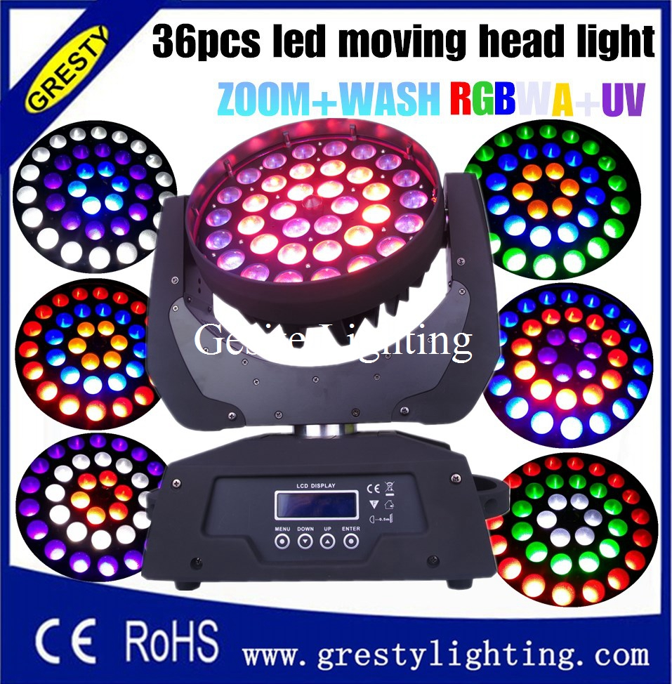 2pcs/lot flight case package zoom wash rgbwauv 6 in 1 moving head lyre light good effect circle control funcation good wash zoom