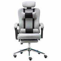 High Quality Mesh Computer Play Chair Lacework Office Chair Lying and Lifting Staff Armchair with Footrest