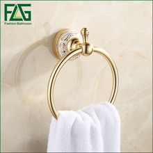 цена FLG European Bathroom Towel Ring Holder Towel Rack Towel Bar Golden Anodic oxidation Space Aluminum Bathroom Accessories онлайн в 2017 году