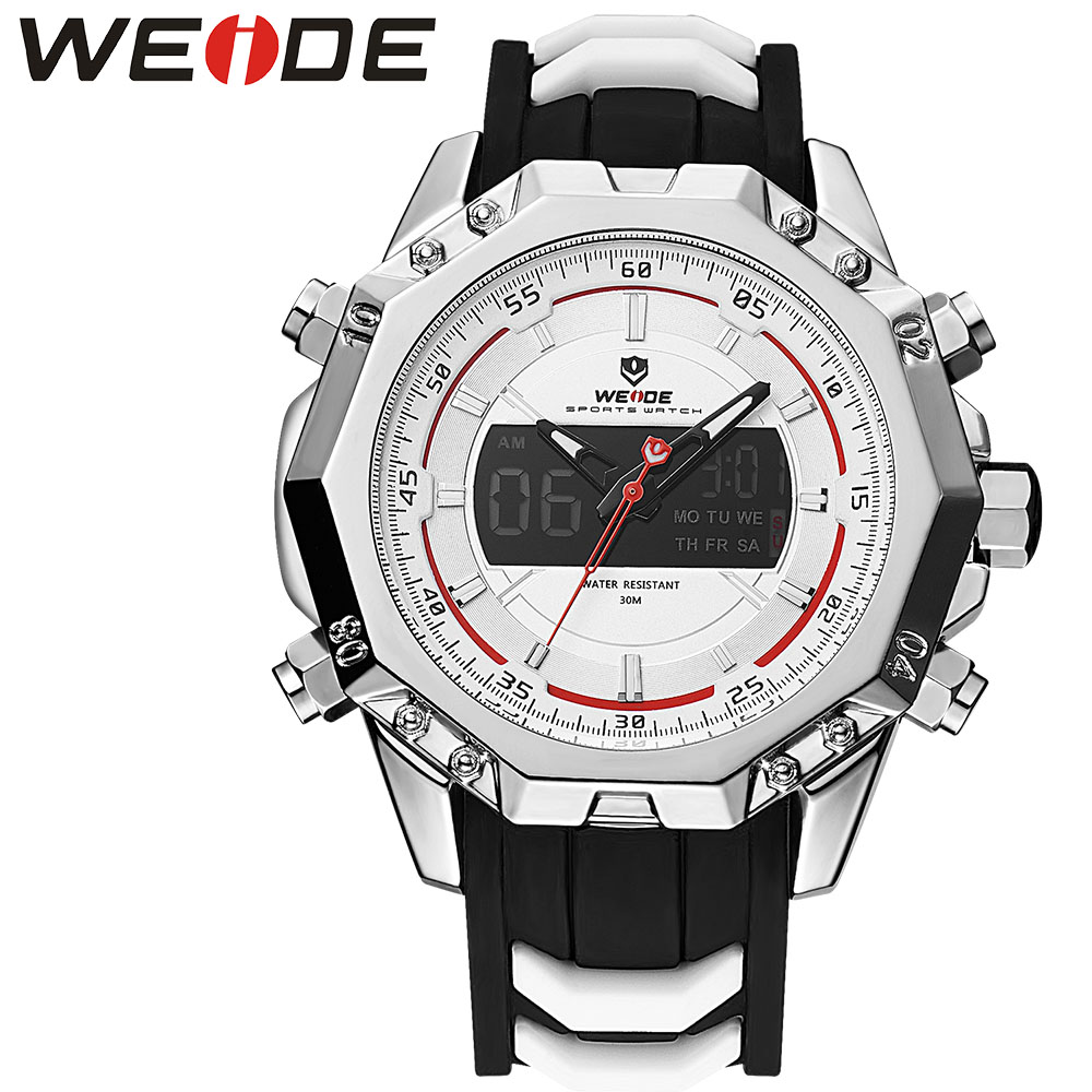 WEIDE 6406 Genuine Mens Quartz Watches Top Brand Luxury Alarm Clock  Waterproof Sport Wristwatch Analog Digital Automatic  Watch